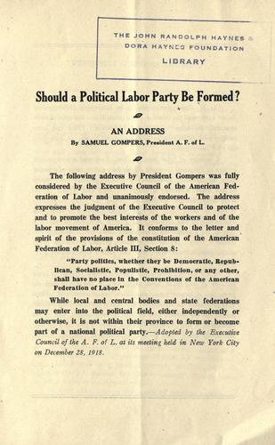 Download Should a political labor party be formed?