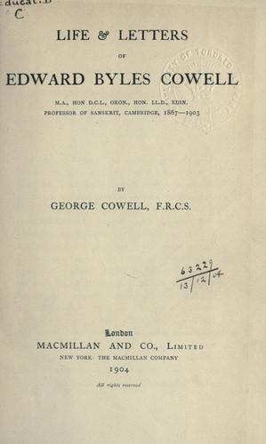 Download Life & letters of Edward Byles Cowell.