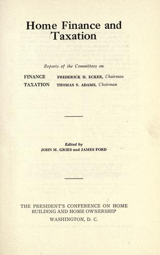 Download Home finance and taxation