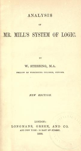 Download Analysis of Mr. Mill's system of logic.