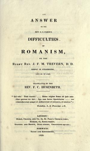 Download An answer to the Rev. G.S. Faber's Difficulties of Romanism
