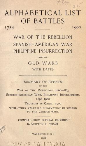 Download Alphabetical list of battles, 1754-1900