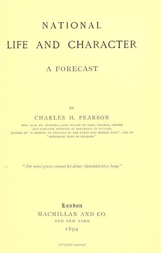 National life and character; a forecast