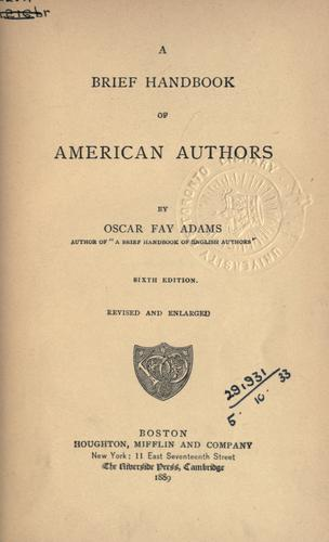 Download A brief handbook of American authors.