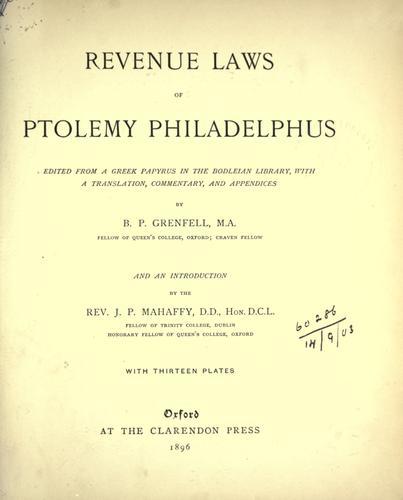 Download Revenue laws of Ptolemy Philadelphus.
