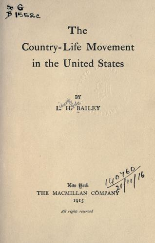 Download The country-life movement in the United States.