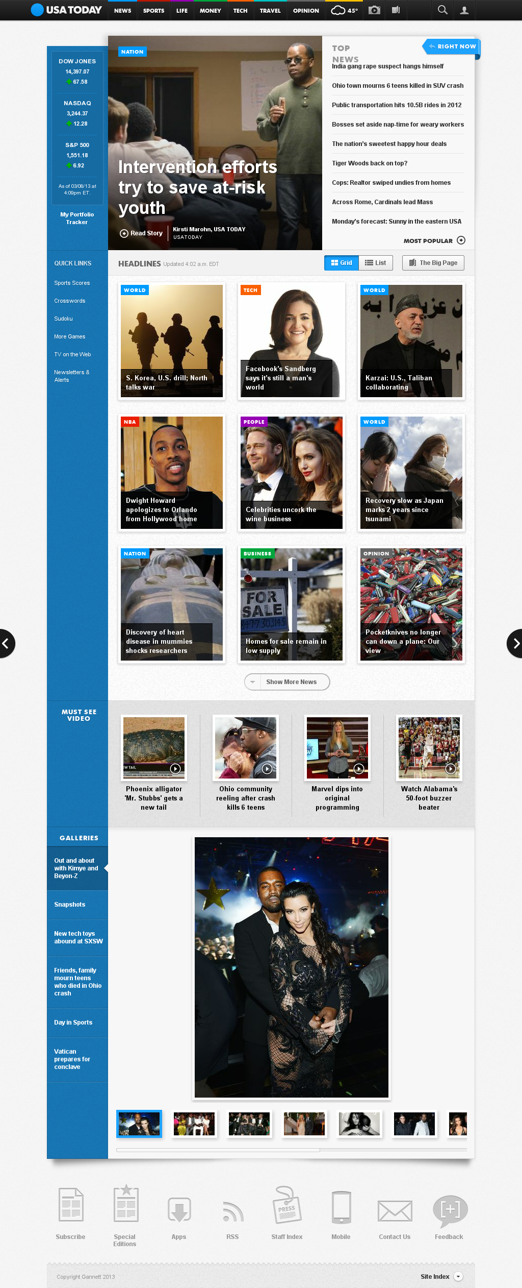 USA Today at Monday March 11, 2013, 8:22 a.m. UTC