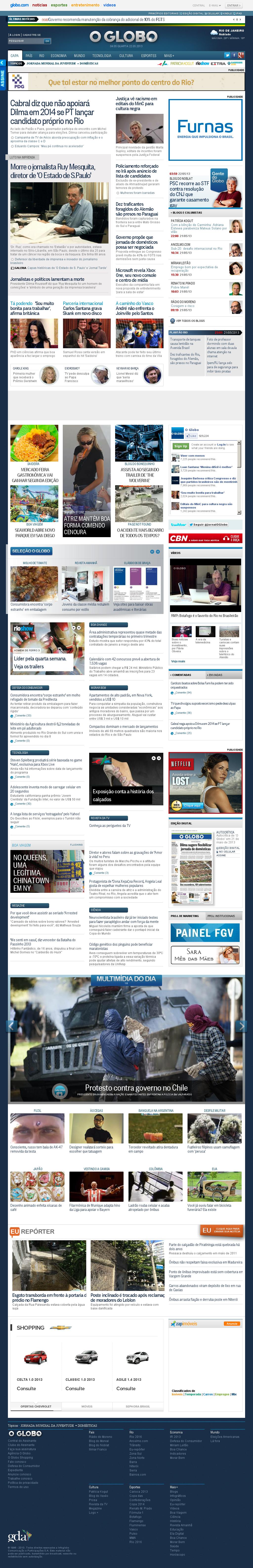 O Globo at Wednesday May 22, 2013, 7:07 a.m. UTC