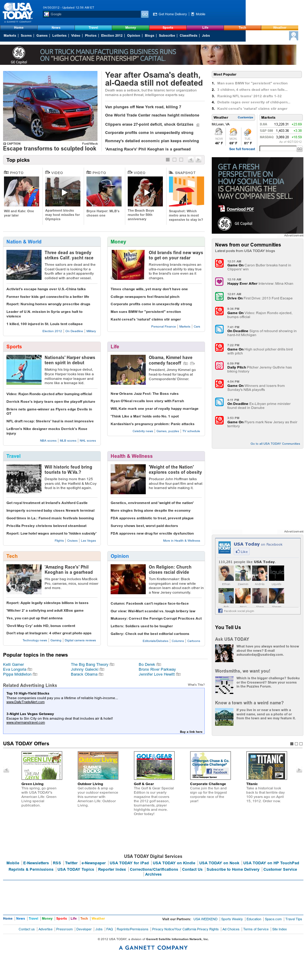 USA Today at Monday April 30, 2012, 5:12 a.m. UTC
