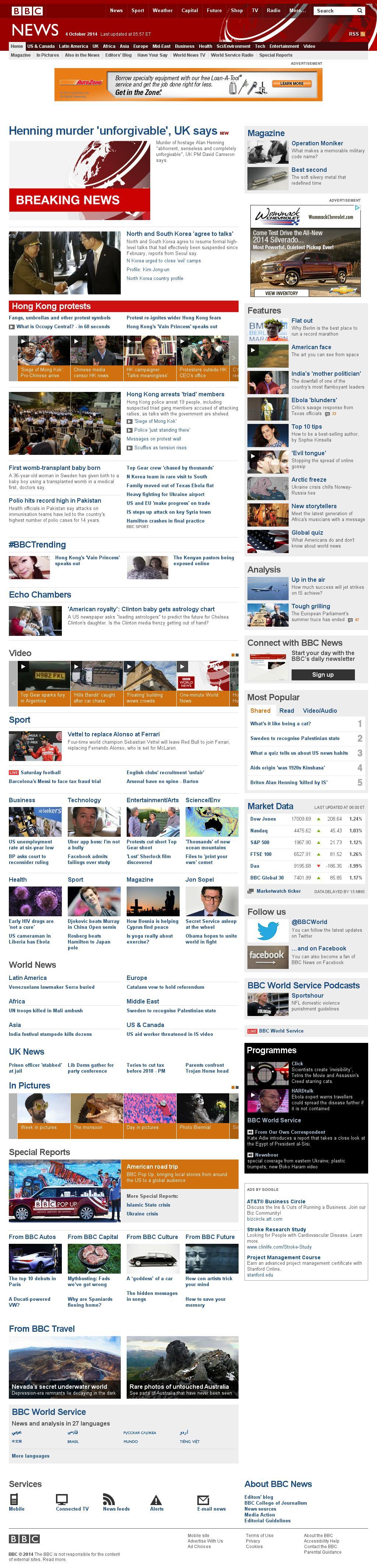BBC at Saturday Oct. 4, 2014, 10 a.m. UTC