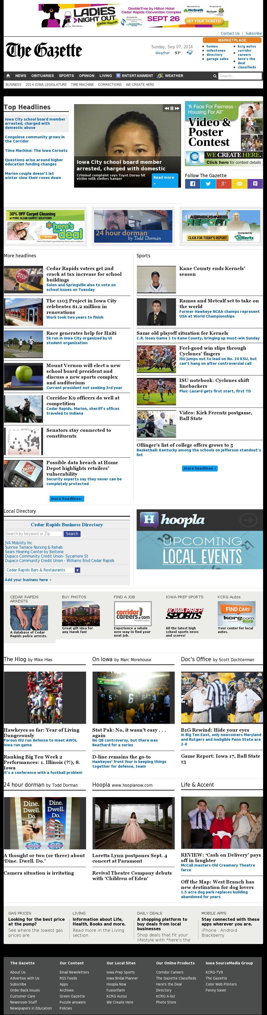 The (Cedar Rapids) Gazette at Monday Sept. 8, 2014, 5:06 a.m. UTC
