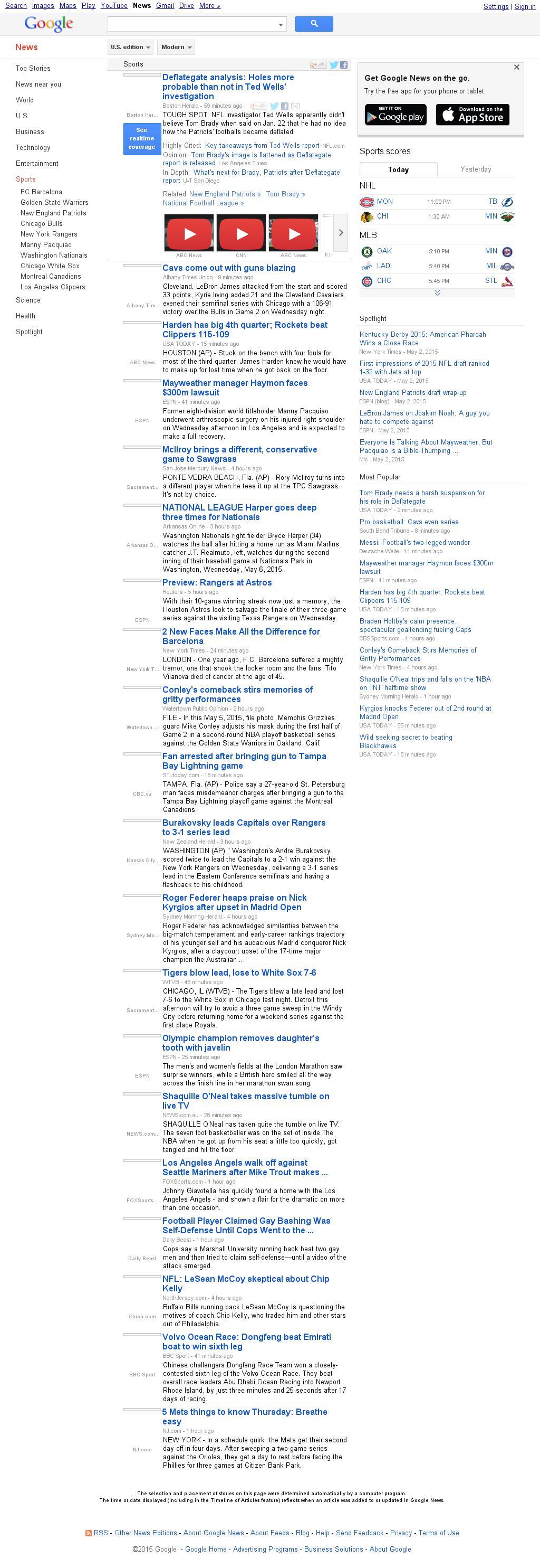 Google News: Sports at Thursday May 7, 2015, 11:09 a.m. UTC