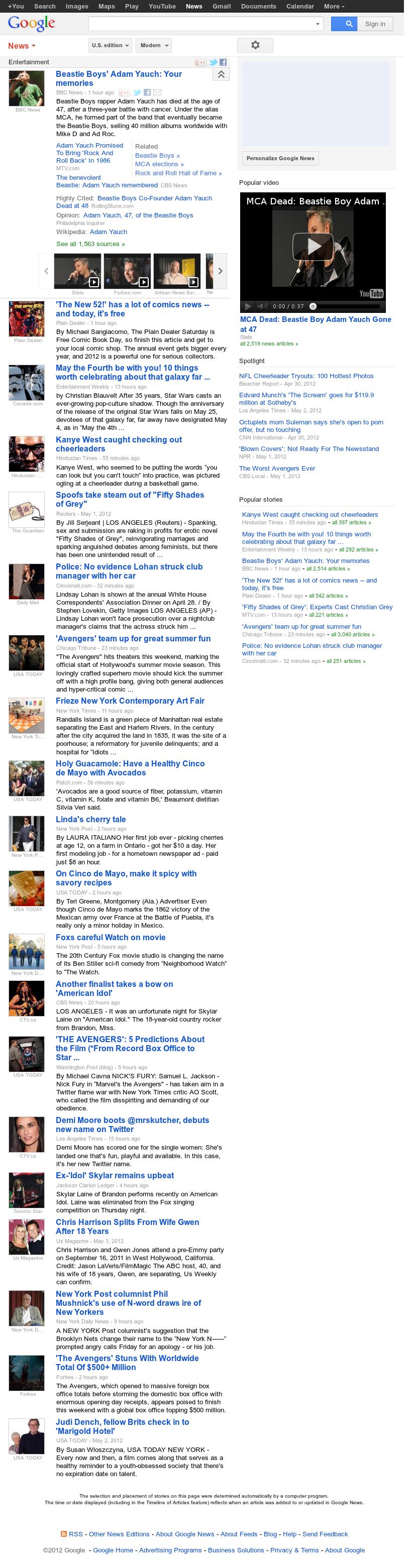 Google News: Entertainment at Saturday May 5, 2012, 11:06 a.m. UTC