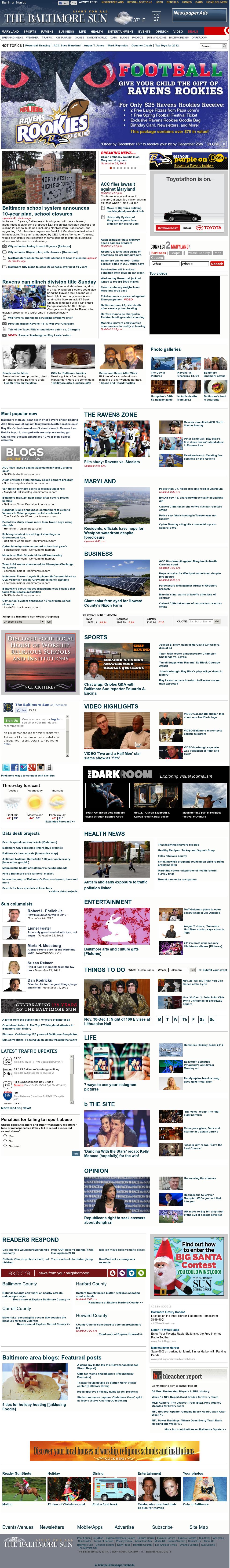 The Baltimore Sun at Wednesday Nov. 28, 2012, 3:02 a.m. UTC