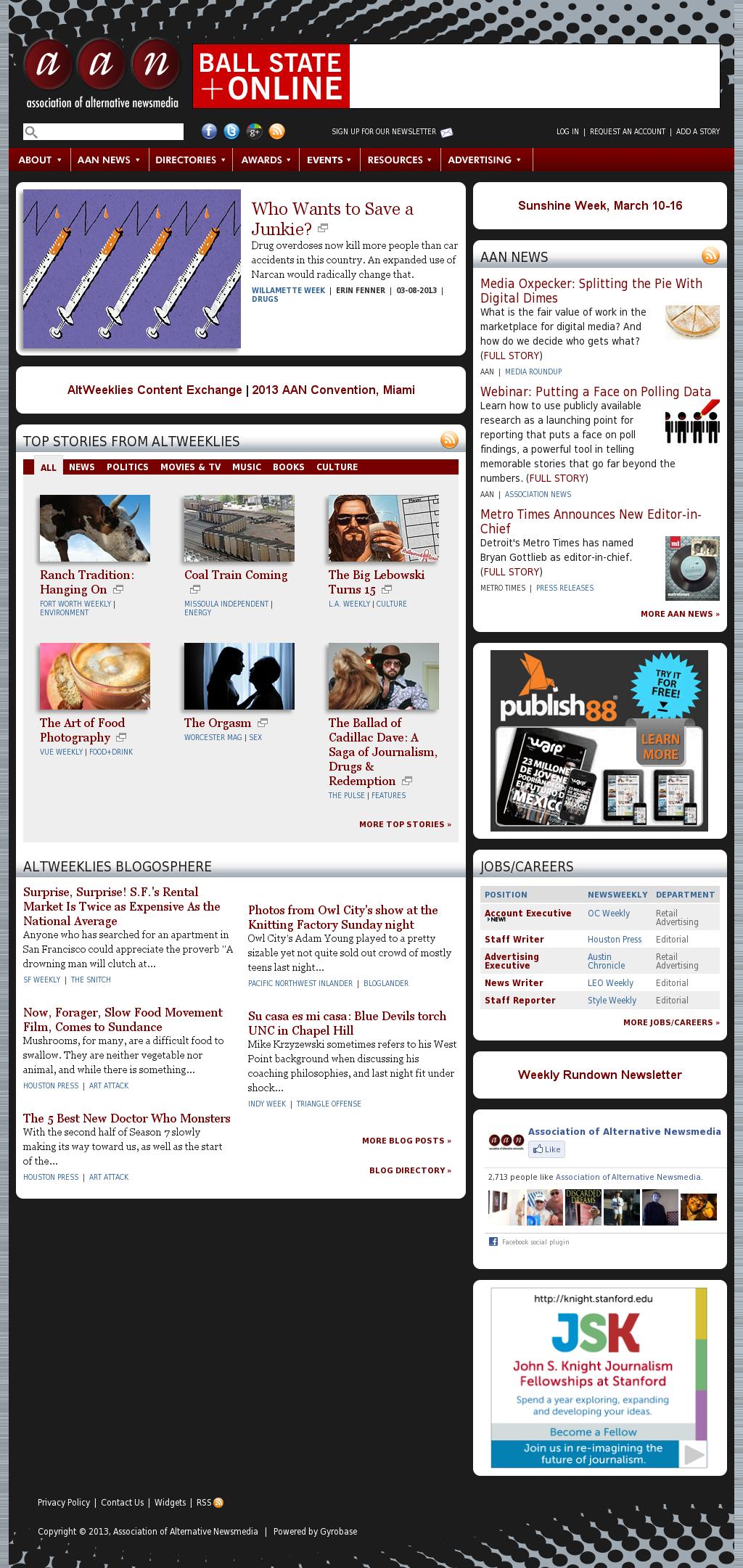 Association of Alternative Newsmedia at Wednesday March 13, 2013, 7 a.m. UTC