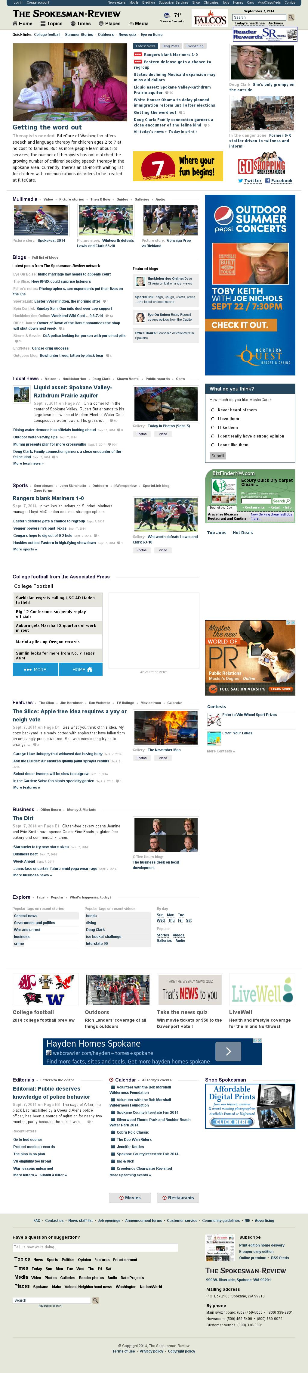 The (Spokane) Spokesman-Review at Monday Sept. 8, 2014, 5:16 a.m. UTC