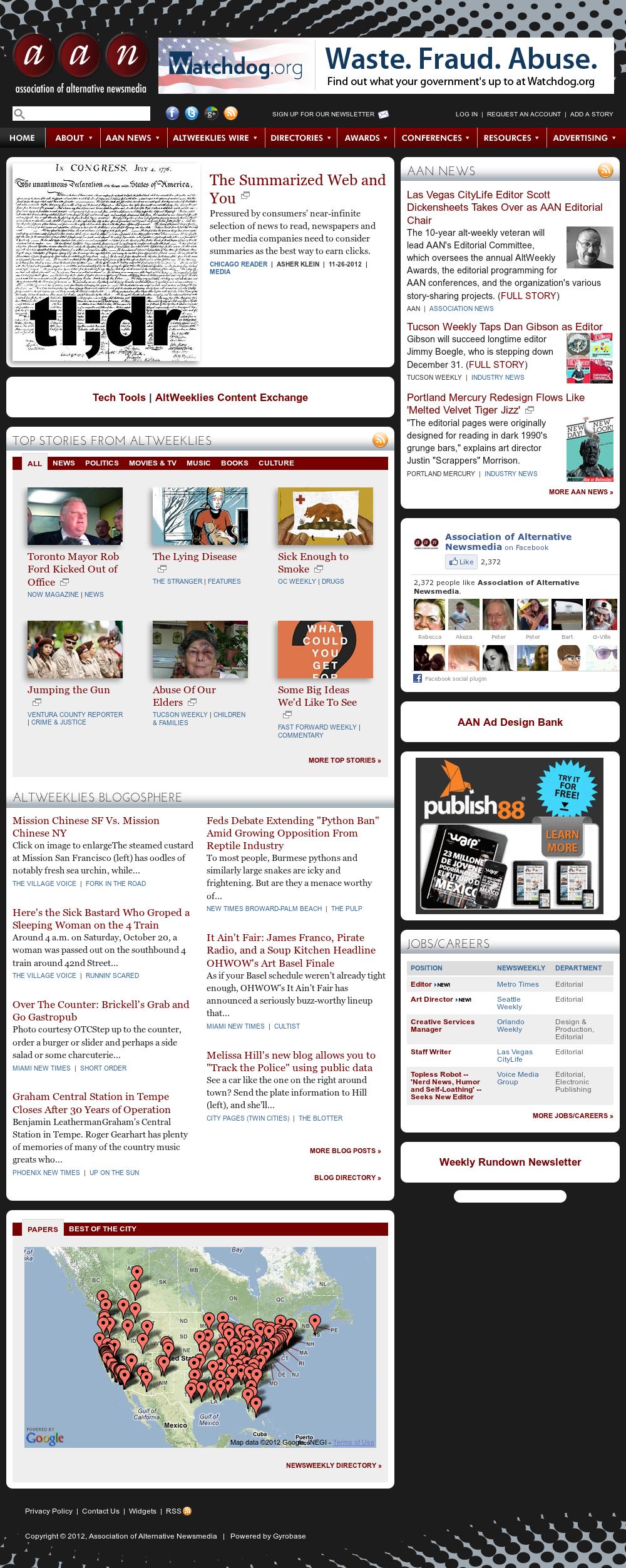 Association of Alternative Newsmedia at Tuesday Nov. 27, 2012, 3:01 p.m. UTC
