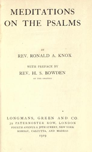 Meditations on the Psalms by Ronald Arbuthnott Knox
