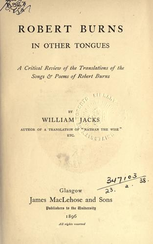 Robert Burns in other tongues by William Jacks