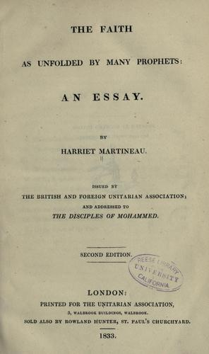 The faith as unfolded by many prophets by Martineau, Harriet