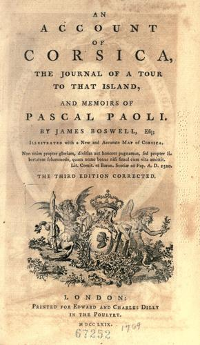An account of Corsica by James Boswell