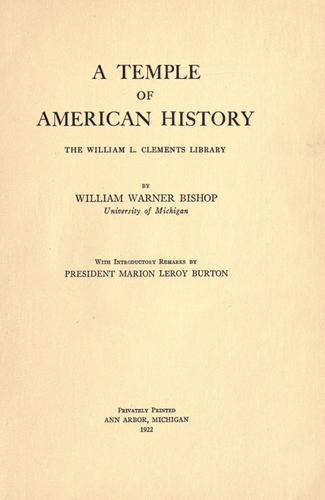 A temple of American history by William Warner Bishop
